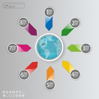 オプション、部品、ステップまたはプロセスのビジネスコンセプト。情報グラフィックテンプレート。
