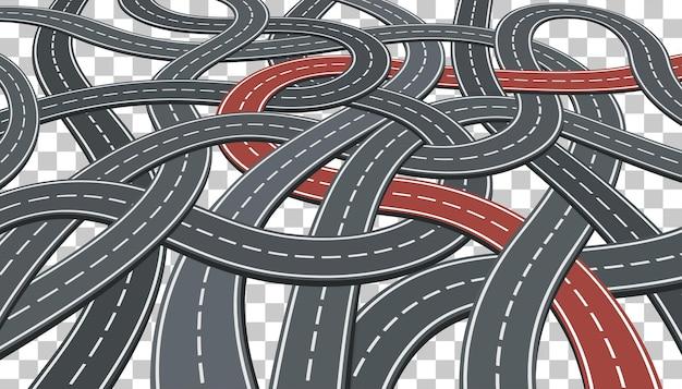 道路のインフォグラフィックと透明な背景の選択された方法でビジネスコンセプト。フラットスタイルのアイコン。孤立したベクトル図