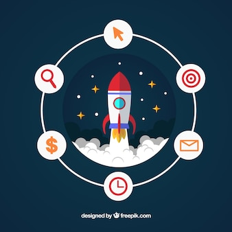 Business concept with rocket and elements