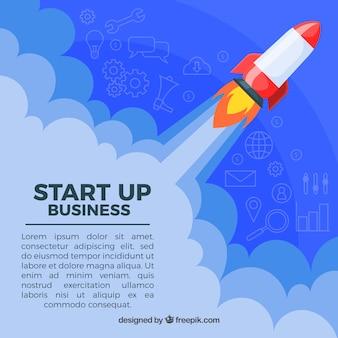 Бизнес-концепция с ракетой в небе