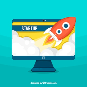 Business concept with rocket leaving screen