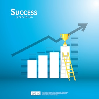 Business concept with stair and trophy cup. arrow direction to success winner