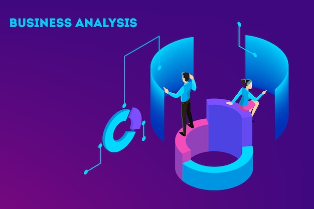 Business concept. work wih data and financial operations. audit, brainstorm and strategy. modern technology and artificial intelligence. isolated isometric illustration