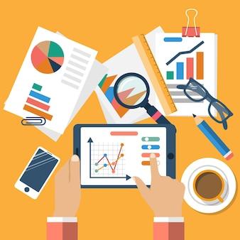 ビジネス コンセプト、フラット。管理と計画 財務、統計、戦略、分析、研究、開発、マーケティング、ソリューション。