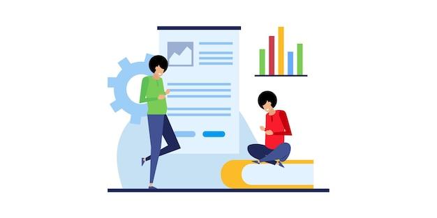 기업가의 비즈니스 개념입니다. 웹 디자인에 대한 개념입니다. 창의적 아이디어 창출, 팀 빌딩, 생산성 관리