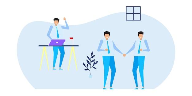 기업가의 비즈니스 개념입니다. 웹 디자인을 위한 평면 그림 개념 프리미엄 벡터