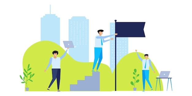 Бизнес-концепции предпринимателей. плоские концепции иллюстрации для веб-дизайна