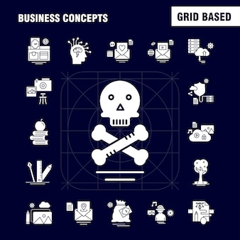 Business concepts solid glyph icons
