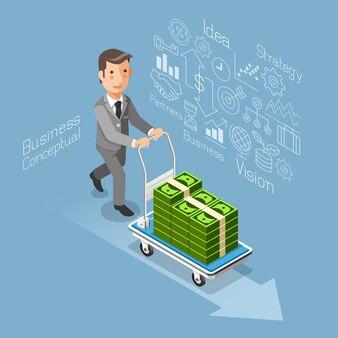 ビジネス概念アイソメトリックフラットスタイル。お金の現金でカートを押すビジネスマン。