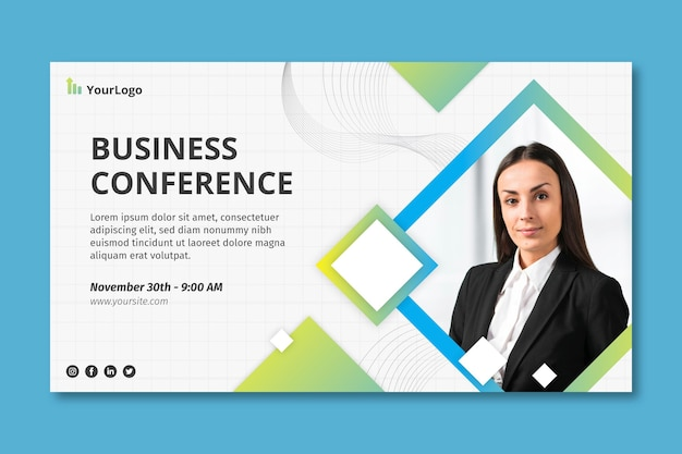 Бизнес конференция баннер корпоративный шаблон