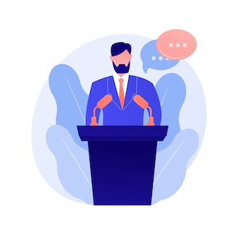Business conference, corporate presentation. female speaker flat character with empty speech bubbles. political debates, professor, seminar concept illustration