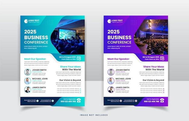 Business conference corporate webinar flyer templat