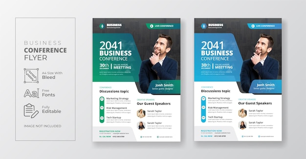 Business conference or corporate webinar flyer template