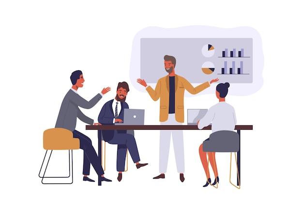 ビジネス会議フラットイラスト。プロジェクトについて話し合う上司と従業員は、白い背景の上の漫画のキャラクターを分離しました。