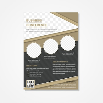 세로 레이아웃 비즈니스 회의 전단지 디자인 템플릿입니다. 색깔은 갈색과 검은 색입니다. 대각선 패턴 및 사각형 모양 요소. 사진 콜라주의 장소에 대한 원과 삼각형 모양.