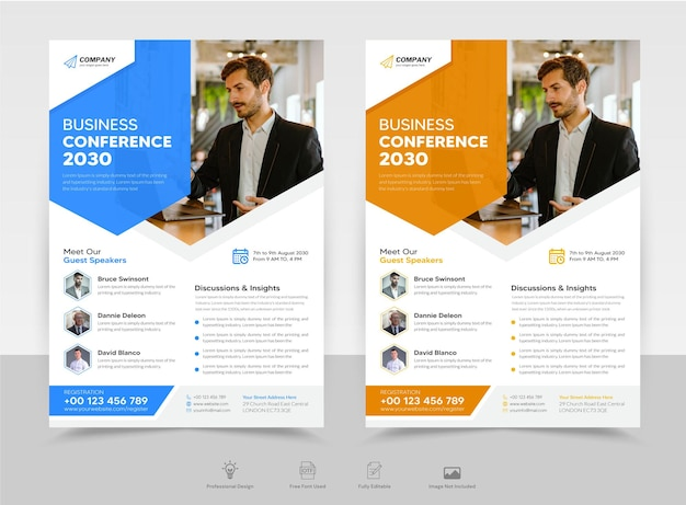 Business conference flyer poster brochure template premium vector