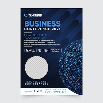 Business conference flyer print template