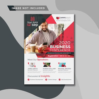Business conference flyer with red accents