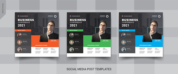 Бизнес-конференция instagram баннер шаблон сообщения в социальных сетях