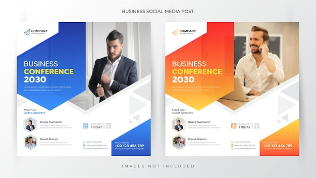 Business conference instagram post advertising and flyer template or web banner premium vector
