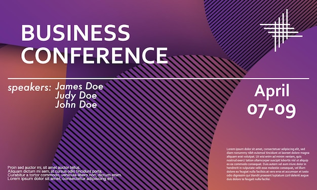 Шаблон оформления приглашения бизнес-конференции, макет флаера. геометрический фон. минималистичный абстрактный дизайн обложки. креативные красочные обои. модный градиентный плакат. векторная иллюстрация.