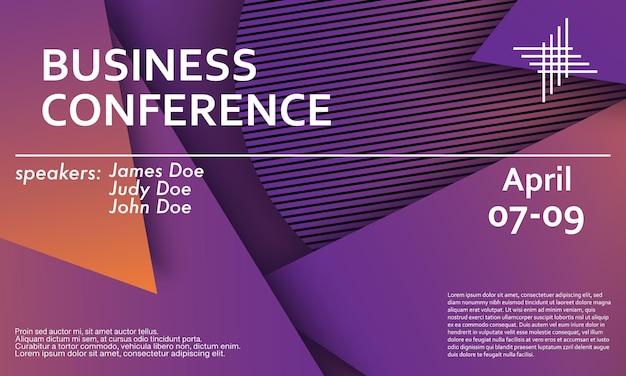 Шаблон оформления приглашения бизнес-конференции, макет флаера. геометрический фон. минималистичный абстрактный дизайн обложки. креативные красочные обои. модный градиентный плакат. векторная иллюстрация. Premium векторы