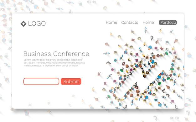 ビジネス会議、ランディングページのコンセプト。ベクトルイラスト