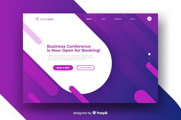 Business conference landing page