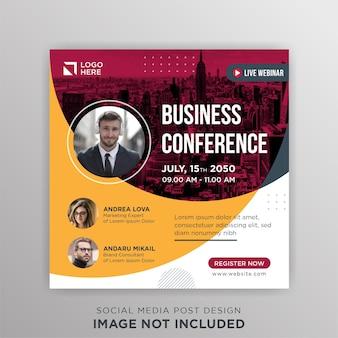 Business conference live webinar social media post template