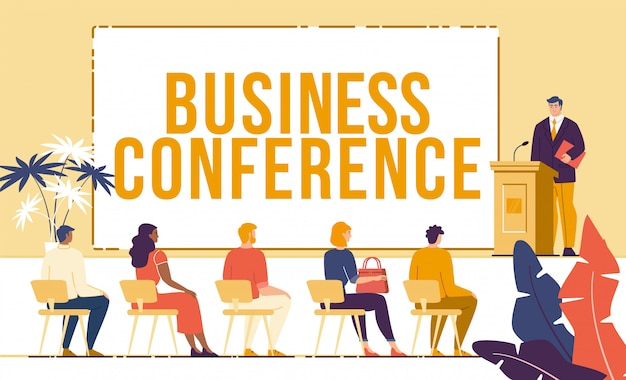 Business conference meeting flat concept