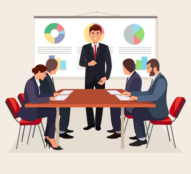 비즈니스 회의, 회의실에서 회의. 재무 보고서를 제시하는 관리자. 브레인 스토밍 팀