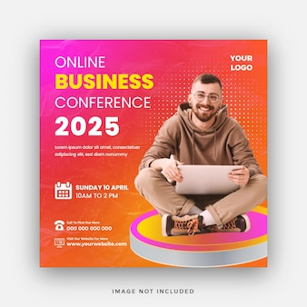 Business conference online webinar social media post or square web banner