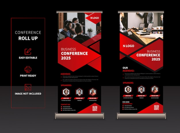 Business conference rollup or xbanner