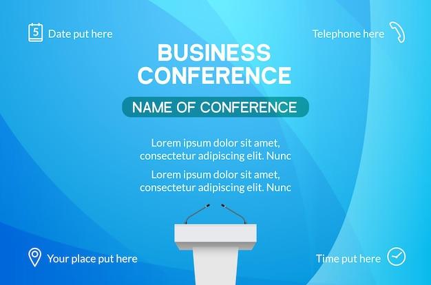 Бизнес-конференция простой шаблон приглашения. геометрический журнал конференции или плакат деловой встречи дизайн баннера.