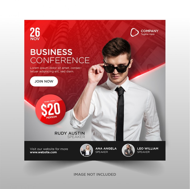 Business conference social media banner square flyer template