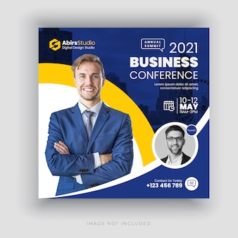 Business conference social media banner or square flyer template
