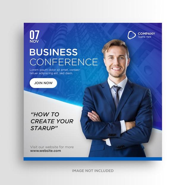 Business conference social media banner square flyer
