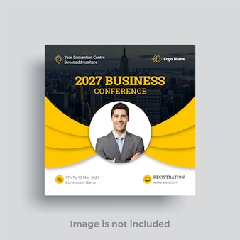 Business conference social media post premium vector
