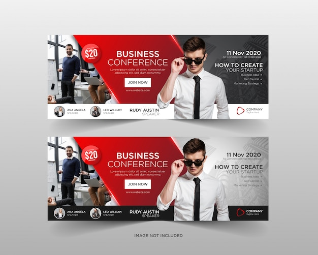 Business conference web banner template