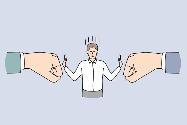 비즈니스 자신감과 강도 개념입니다. 젊고 침착한 사업가가 서서 손 벡터 삽화를 사용하여 양쪽에서 거대한 인간의 손으로 타격을 빗나가게 합니다.