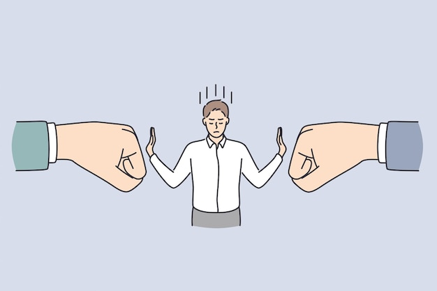 Business confidence and strength concept. young calm businessman standing and deflecting blows from huge human hands from both sides with hands vector illustration