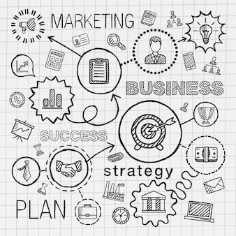 비즈니스 연결 손 그리기 아이콘입니다. 전략, 서비스, 분석, 연구, 디지털 마케팅, 대화 형 개념에 대한 인포 그래픽 통합 낙서 그림을 스케치하십시오. 해치 무늬를 설정합니다.