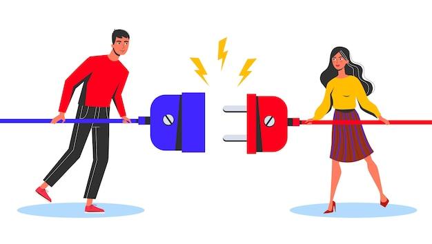 ビジネス接続の概念。立っている女と男
