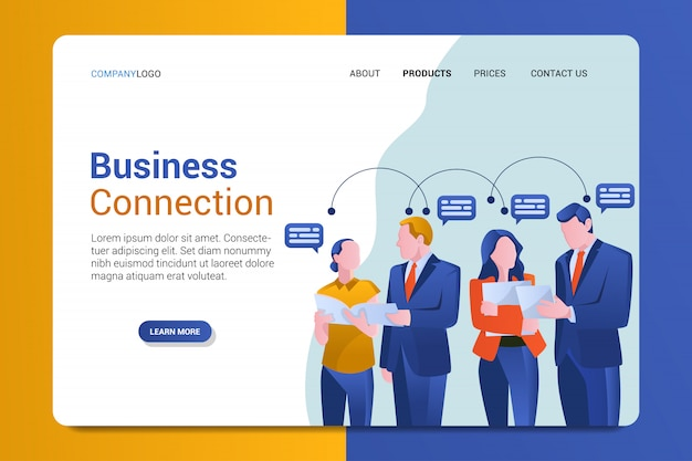 Business connection landing page template