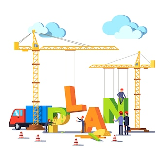 Business construction site building word plan