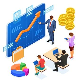 ビジネスコンサルタントがチームにアドバイスします。コンセプト投資、データ分析、計画、アカウント。成長グラフビジネス分析を備えた仮想画面。ベクトル等角文字とのチームワーク