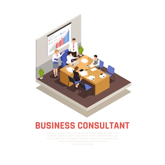 Business consultant isometric concept with lecture and presentation symbols