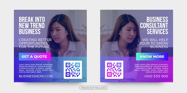 Business consultant social media post templates