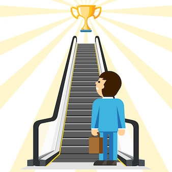 Consulenza aziendale. modo comodo per il successo. obiettivo e coppa, risultato e scala, comfort del passo, ascensore dell'uomo d'affari,