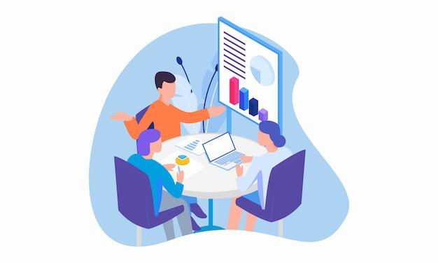 ビジネスコンサルティングの概念図。漫画のキャラクターとフラットなデザイン